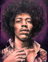Jimi Hendrix by Pete Humphreys - Original Painting on Stretched Canvas sized 28x36 inches. Available from Whitewall Galleries